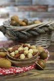 Roasted ha salato i dadi si mescola, spuntino dalla noce di macadamia, walnotes e almo Fotografie Stock