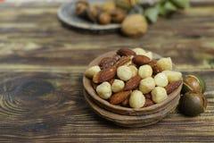 Roasted ha salato i dadi si mescola, spuntino dalla noce di macadamia, walnotes e almo Immagini Stock