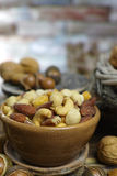 Roasted ha salato i dadi si mescola, spuntino dalla noce di macadamia, walnotes e almo Fotografia Stock Libera da Diritti