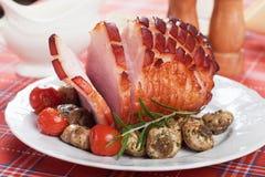 Roasted ham with mushrooms Royalty Free Stock Photo