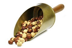 Roasted hazelnuts. In a brass scoop isolated on white background Stock Image