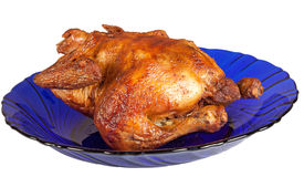 Roasted hen on blue dish Stock Image