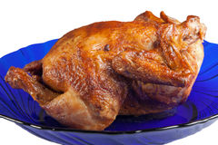 Roasted hen on dish Stock Photography