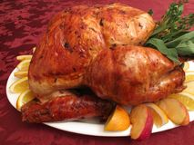 Roasted Holiday Turkey With Garnishes Stock Photos