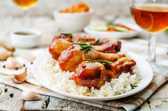 Roasted honey soy garlic ginger chicken Royalty Free Stock Photography