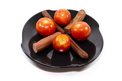 Roasted Hot Dogs with Red Tomatoes Royalty Free Stock Photography