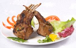 Roasted lamb chops Stock Images