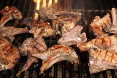 Roasted lamb chops on BBQ Grill Stock Images