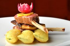 Roasted Lamb Chops on foie gras Royalty Free Stock Image