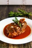 Roasted Lamb Chops on Tomato Sauce side view royalty free stock photos