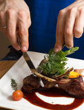 Roasted lamb chops with vegetables Royalty Free Stock Photos