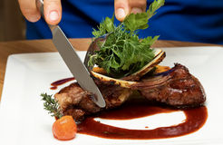 Roasted lamb chops with vegetables Royalty Free Stock Photo