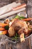Roasted lamb leg. Close up on roasted lamb leg royalty free stock photography