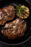 Roasted lamb loin chops with rosemary and garlic Royalty Free Stock Images