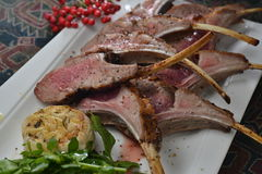 Roasted lamb rack Stock Photography