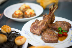 Roasted Lamb rack with herbs Royalty Free Stock Photography