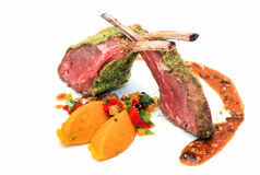 Roasted lamb rib chops with vegetables Royalty Free Stock Photo