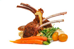 Roasted lamb rib chops with vegetables Stock Photo