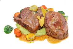 Roasted lamb rib chops with vegetables Royalty Free Stock Image
