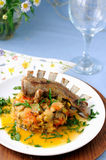 Roasted lamb ribs with stewed vegetables Royalty Free Stock Photography