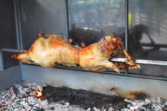 Roasted lamb on the spit Stock Image
