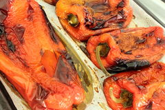 Roasted large red peppers Royalty Free Stock Photo