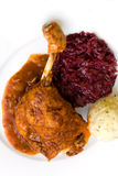 Roasted leg of duck, red cabbage and potato dumpli Royalty Free Stock Photos