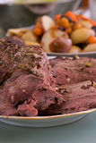 Roasted Leg Of Lamb with vegetables Royalty Free Stock Photos
