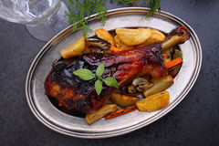 Roasted leg of turkey Royalty Free Stock Images
