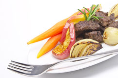 Roasted liver with vegetables Royalty Free Stock Image