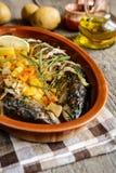 Roasted mackerel with vegetable garnish Stock Photography