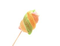 Roasted of marshmallow on a stick. Isolated. Royalty Free Stock Photos