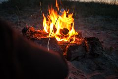 Roasted marshmallows on a fire on the seashore in the late evening. Summertime, travel and vacations royalty free stock photography