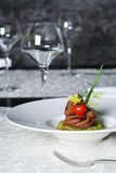 Roasted meat appetizer. Mediterranean restaurant cuisine - Roasted meat appetizer Stock Photos