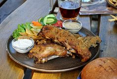 Roasted meat and beer Royalty Free Stock Images