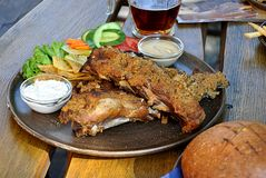 Roasted meat and beer Royalty Free Stock Photo
