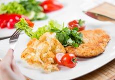 Roasted meat with cauliflower dish Stock Photo