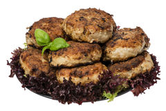 Roasted meat cutlets on the plate isolated. Stock Images