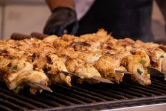 Roasted Meat Grilled Shish kebab on skewers stock photography