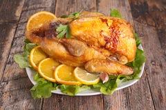 Roasted meat with orange Stock Photo