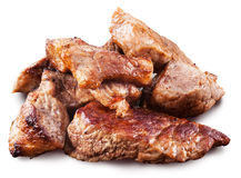 Roasted meat pieces. File contains clipping paths. Royalty Free Stock Photo