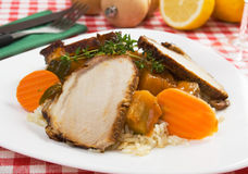 Roasted meat with rice and vegetables Stock Photography