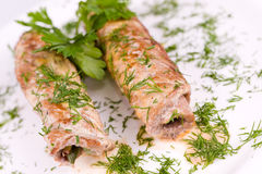 Roasted meat rolls, macro Stock Photos