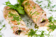 Roasted meat rolls, macro Royalty Free Stock Photos