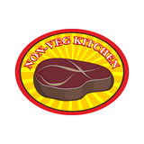 Roasted meat steak. Logo for cafe or restaurant. Kitchen without Stock Photography