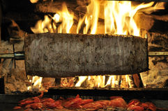 Roasted meat - Turkish doner kebab. Doner kebab on its special bbq set with tray of sliced meat seen from above royalty free stock photography
