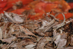 Roasted meat - Turkish doner kebab. Authentic Turkish doner kebab and grill royalty free stock image