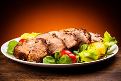 Roasted meat and vegetables Royalty Free Stock Photos