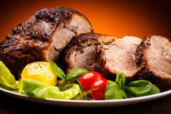 Roasted meat and vegetables Royalty Free Stock Image