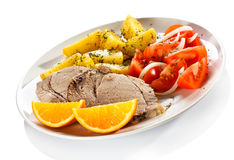 Roasted meat and vegetables Royalty Free Stock Photo
